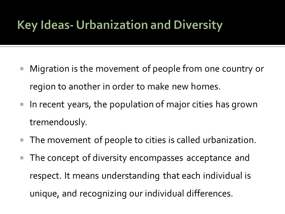 Migration is the movement of people from one country or region to another in order to make new homes.  In recent years, the population of major cit