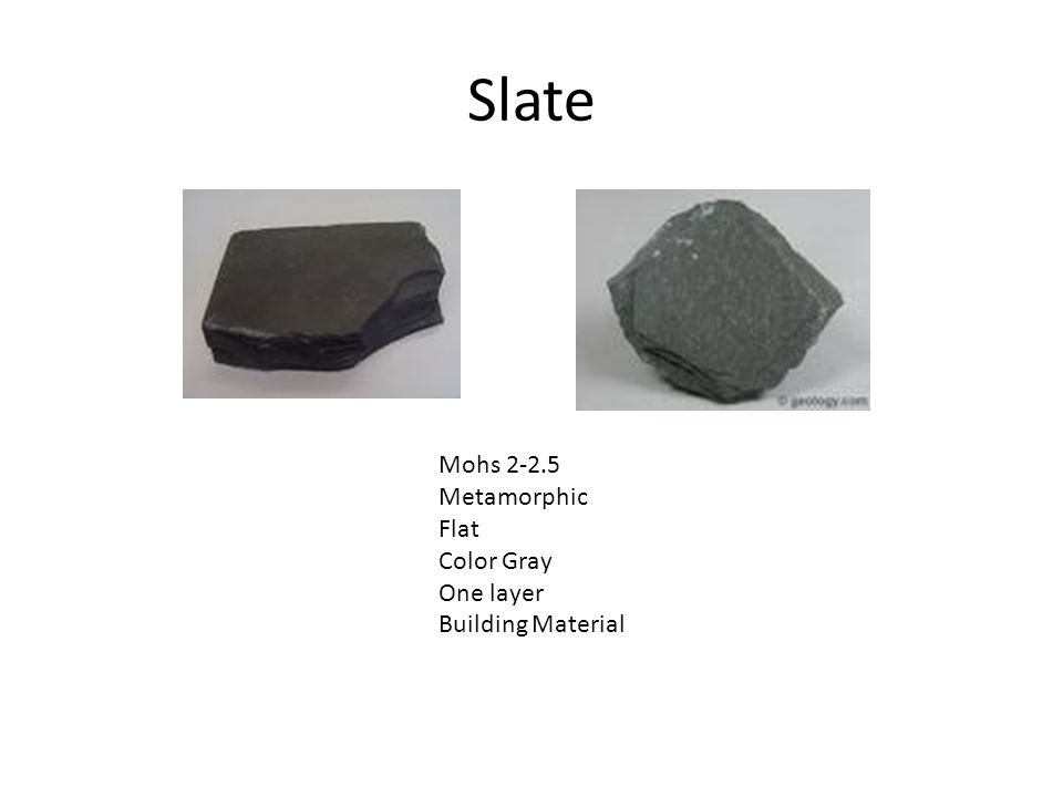 Slate Mohs 2-2.5 Metamorphic Flat Color Gray One layer Building Material
