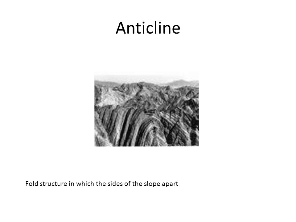 Anticline Fold structure in which the sides of the slope apart