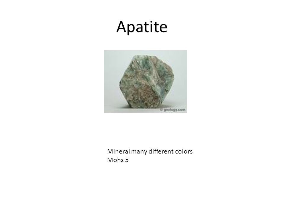 Apatite Mineral many different colors Mohs 5
