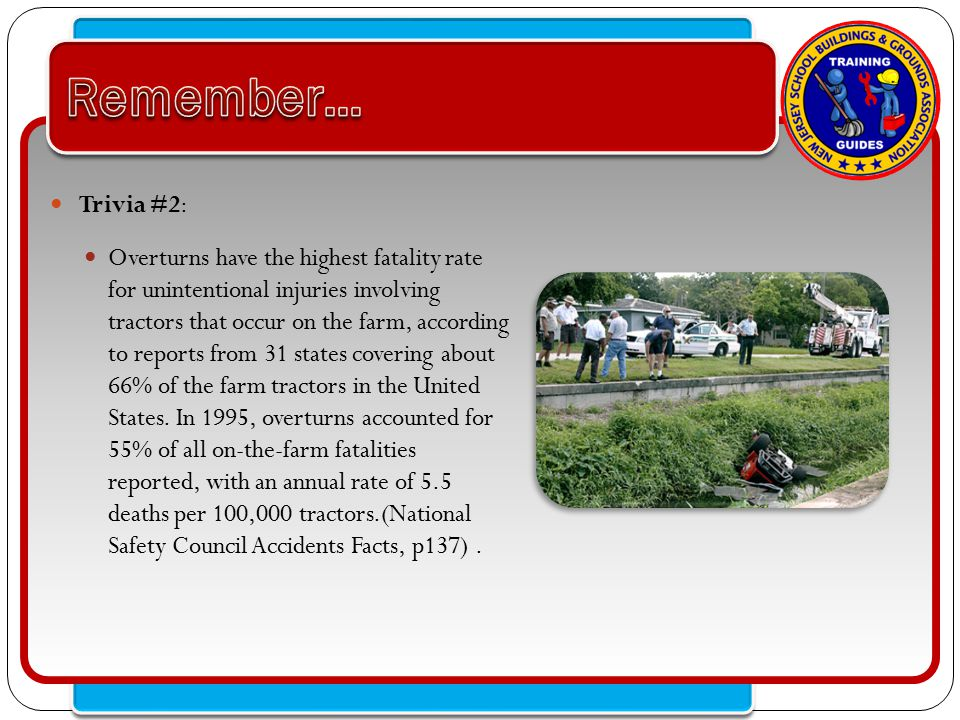 Click to edit Master text styles – Second level Third level – Fourth level » Fifth level Trivia #2: Overturns have the highest fatality rate for unintentional injuries involving tractors that occur on the farm, according to reports from 31 states covering about 66% of the farm tractors in the United States.