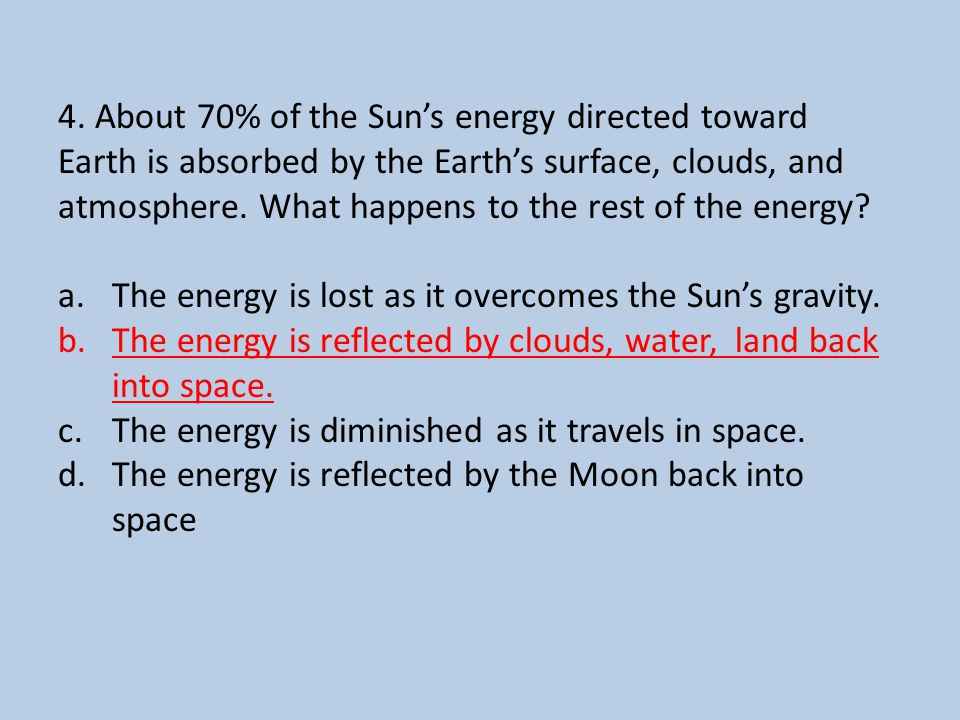 4. About 70% of the Sun's energy directed toward Earth is absorbed by the Earth's surface, clouds, and atmosphere. What happens to the rest of the ene