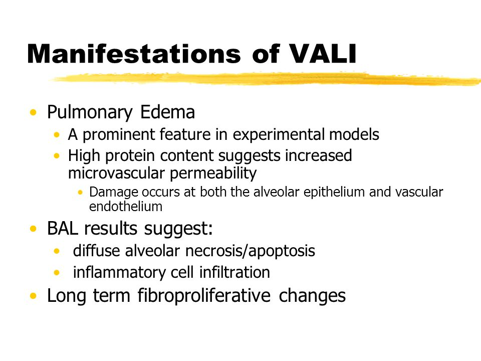 Manifestations of VALI Pulmonary Edema A prominent feature in experimental models High protein content suggests increased microvascular permeability D