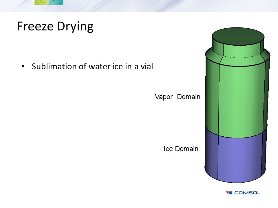 Freeze Drying Sublimation of water ice in a vial Ice Domain Vapor Domain