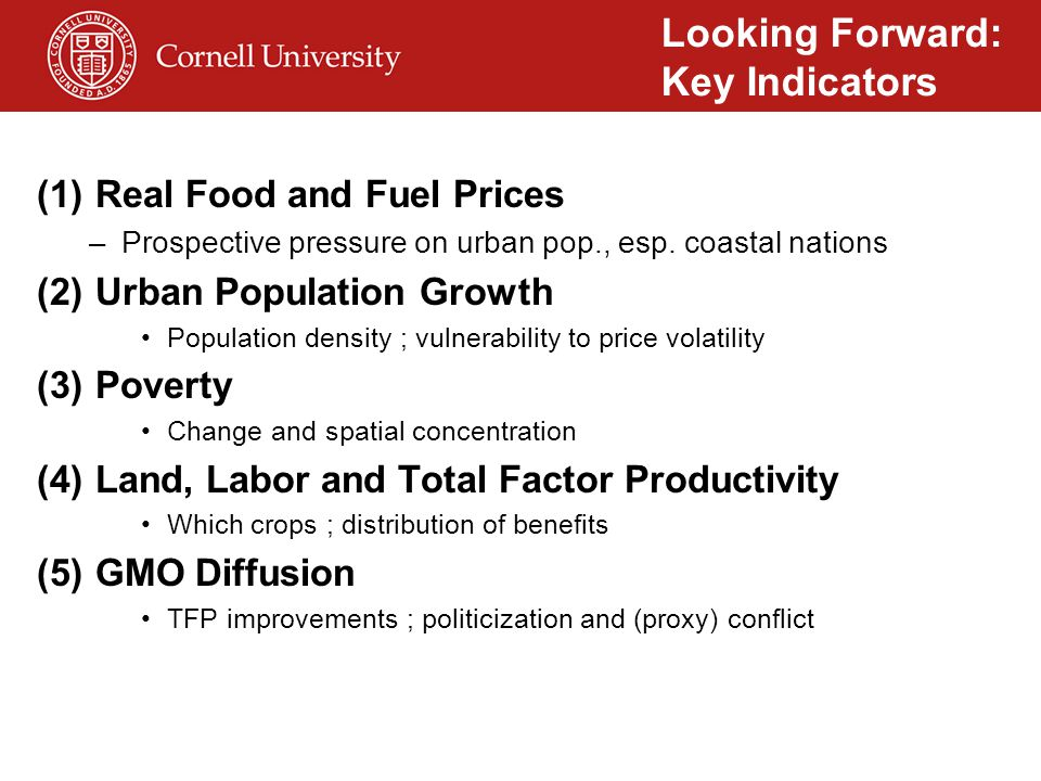 (1)Real Food and Fuel Prices –Prospective pressure on urban pop., esp.