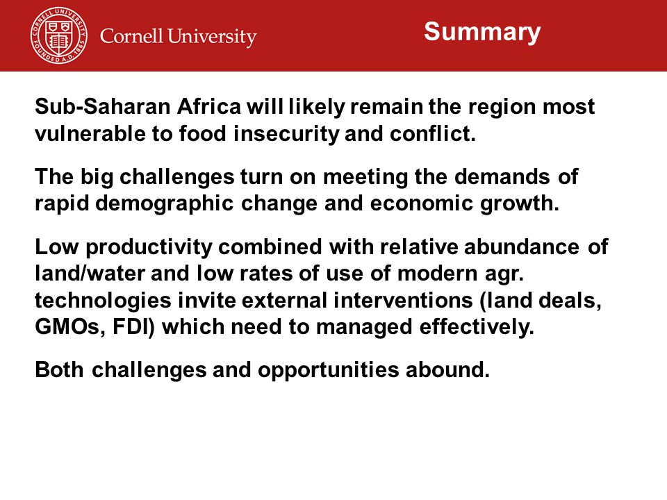 Summary Sub-Saharan Africa will likely remain the region most vulnerable to food insecurity and conflict. The big challenges turn on meeting the deman