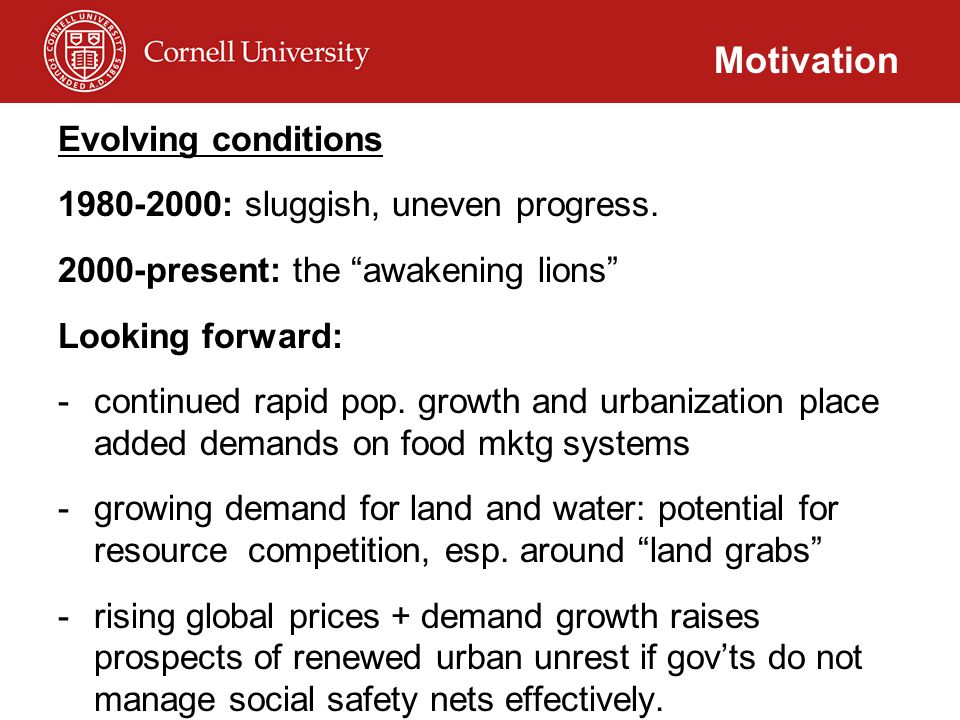 "Evolving conditions 1980-2000: sluggish, uneven progress. 2000-present: the ""awakening lions"" Looking forward: -continued rapid pop. growth and urbani"