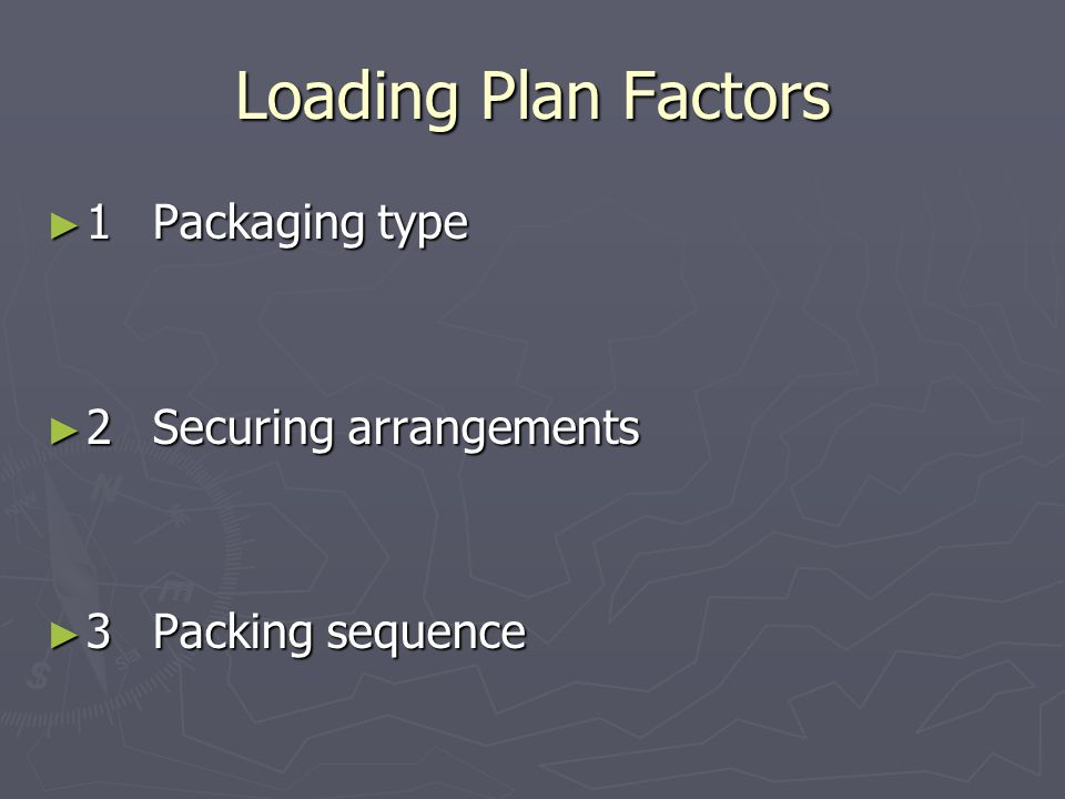 Loading Plan Factors ► 1Packaging type ► 2Securing arrangements ► 3Packing sequence