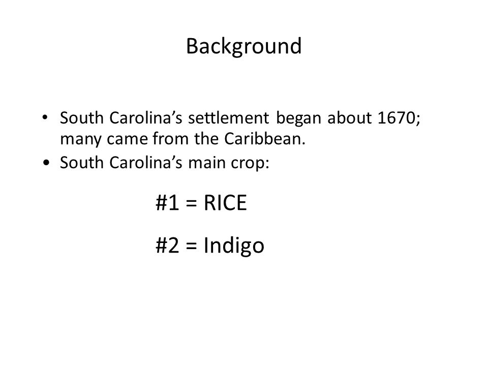 Background South Carolina's settlement began about 1670; many came from the Caribbean.