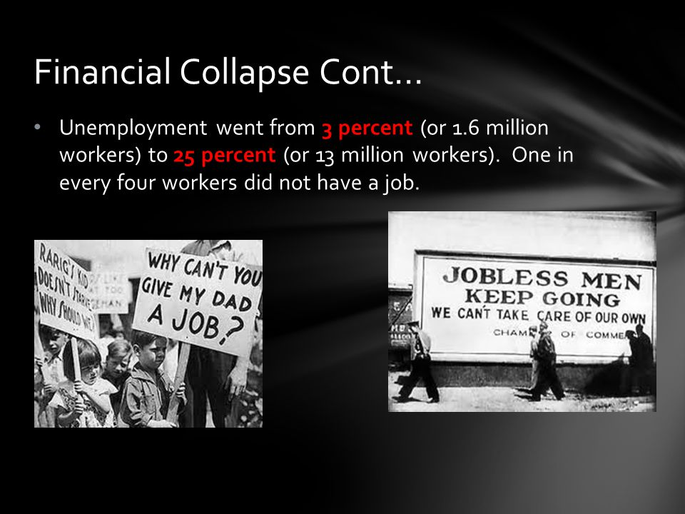 Unemployment went from 3 percent (or 1.6 million workers) to 25 percent (or 13 million workers).