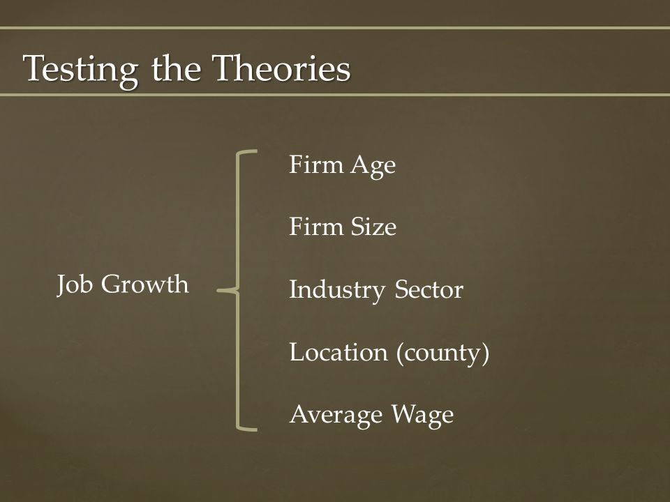 Testing the Theories Job Growth Firm Age Firm Size Industry Sector Location (county) Average Wage