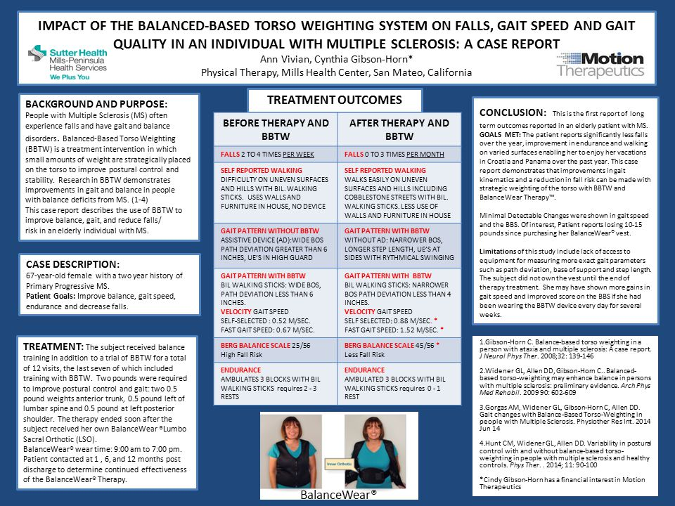 IMPACT OF THE BALANCED-BASED TORSO WEIGHTING SYSTEM ON FALLS, GAIT SPEED AND GAIT QUALITY IN AN INDIVIDUAL WITH MULTIPLE SCLEROSIS: A CASE REPORT Ann Vivian, Cynthia Gibson-Horn* Physical Therapy, Mills Health Center, San Mateo, California TREATMENT OUTCOMES BACKGROUND AND PURPOSE: People with Multiple Sclerosis (MS) often experience falls and have gait and balance disorders.