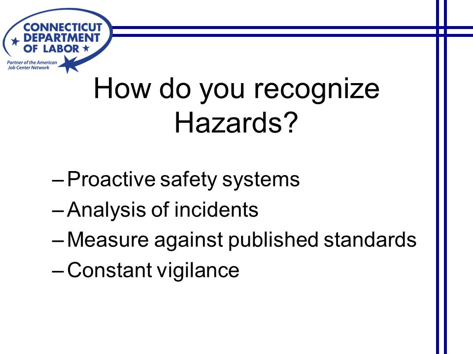 How do you recognize Hazards.