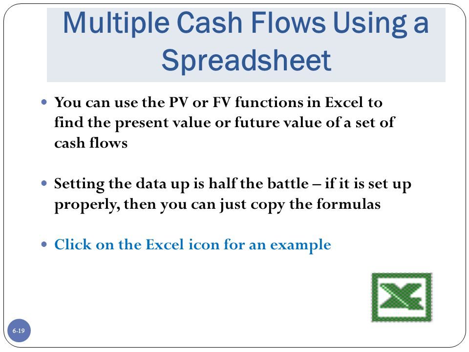 6-19 Multiple Cash Flows Using a Spreadsheet You can use the PV or FV functions in Excel to find the present value or future value of a set of cash flows Setting the data up is half the battle – if it is set up properly, then you can just copy the formulas Click on the Excel icon for an example