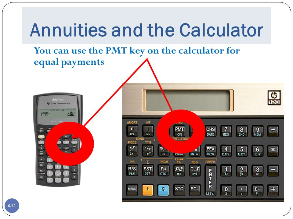 6-32 Annuities and the Calculator You can use the PMT key on the calculator for equal payments