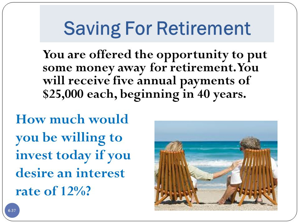 6-37 Saving For Retirement You are offered the opportunity to put some money away for retirement.