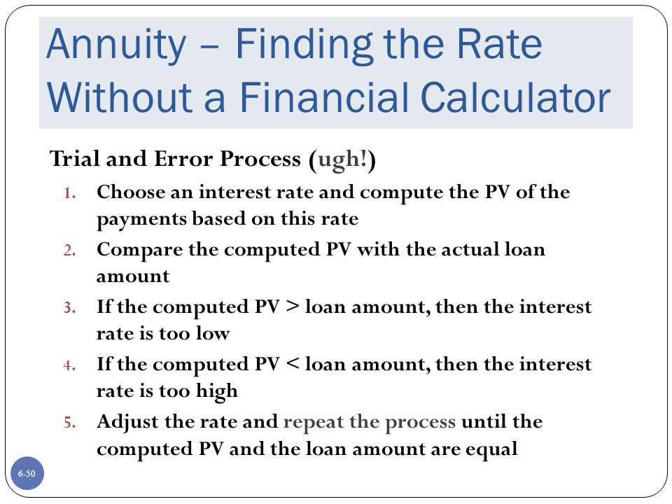 6-50 Annuity – Finding the Rate Without a Financial Calculator Trial and Error Process (ugh!) 1.