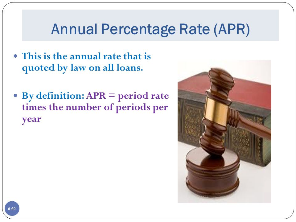 6-60 Annual Percentage Rate (APR) This is the annual rate that is quoted by law on all loans.