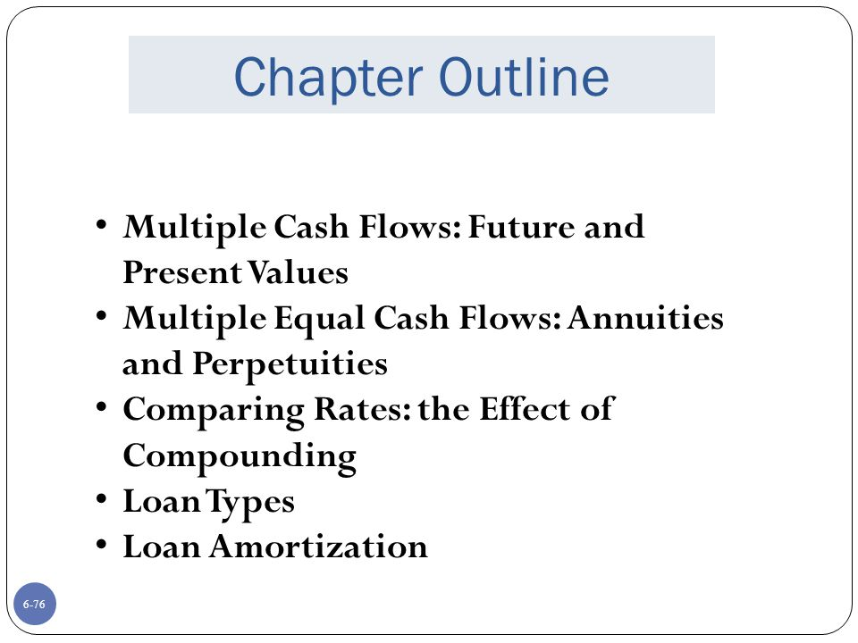 6-76 Chapter Outline Multiple Cash Flows: Future and Present Values Multiple Equal Cash Flows: Annuities and Perpetuities Comparing Rates: the Effect of Compounding Loan Types Loan Amortization