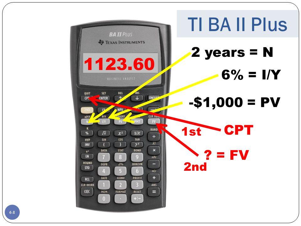 6-8 2 years = N 6% = I/Y -$1,000 = PV ? = FV CPT 1123.60 1st 2nd TI BA II Plus
