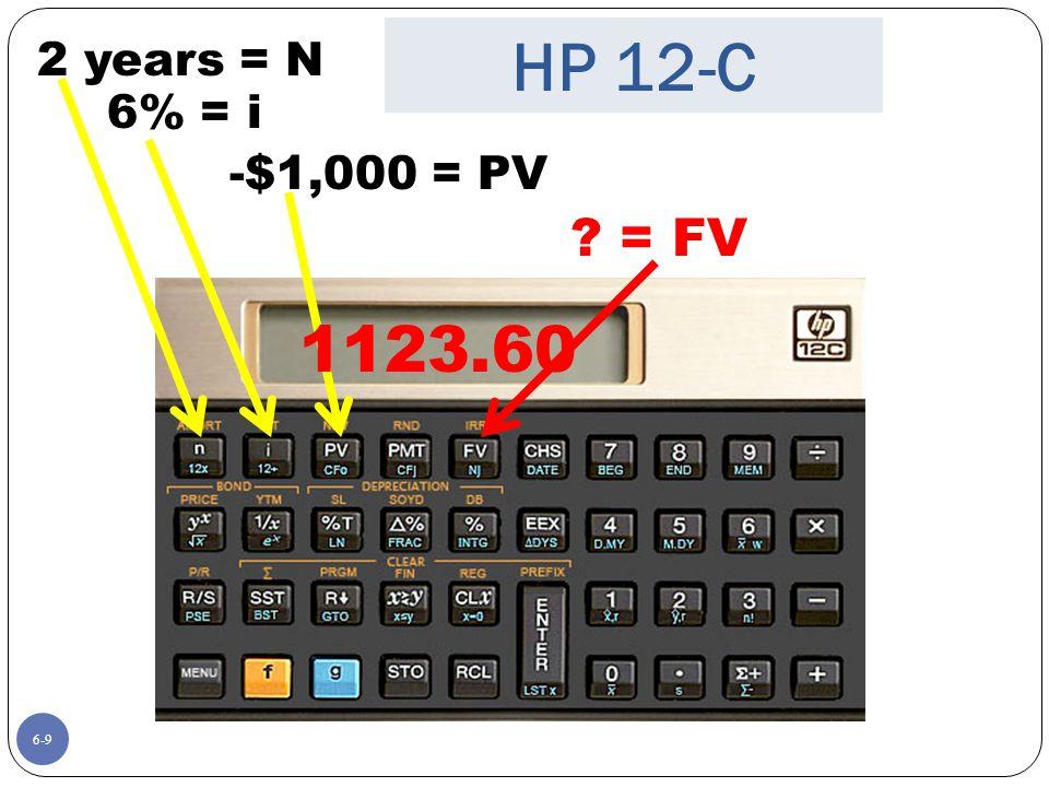 6-9 ? = FV 2 years = N -$1,000 = PV 6% = i 1123.60 HP 12-C