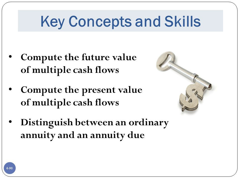 6-90 Key Concepts and Skills Compute the future value of multiple cash flows Compute the present value of multiple cash flows Distinguish between an ordinary annuity and an annuity due
