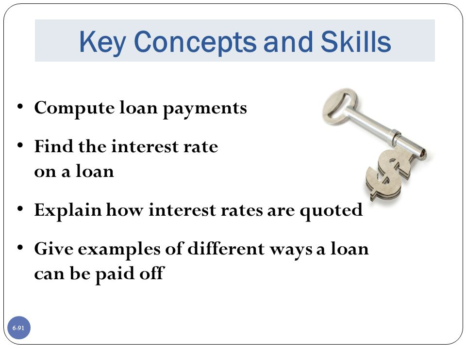 6-91 Key Concepts and Skills Compute loan payments Find the interest rate on a loan Explain how interest rates are quoted Give examples of different ways a loan can be paid off