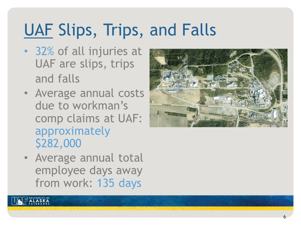 UAF Slips, Trips, and Falls 32% of all injuries at UAF are slips, trips and falls Average annual costs due to workman's comp claims at UAF: approximately $282,000 Average annual total employee days away from work: 135 days 6