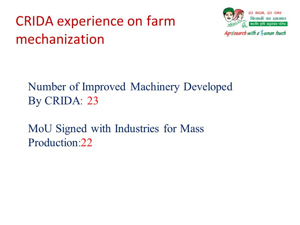Way Forward Use of improved farm implements and agricultural practices can enhance inclusive growth of farmers in dryland through increased crop yield and reduced cost of operation and custom hiring service makes the implements accessible to the farmers at affordable rental price