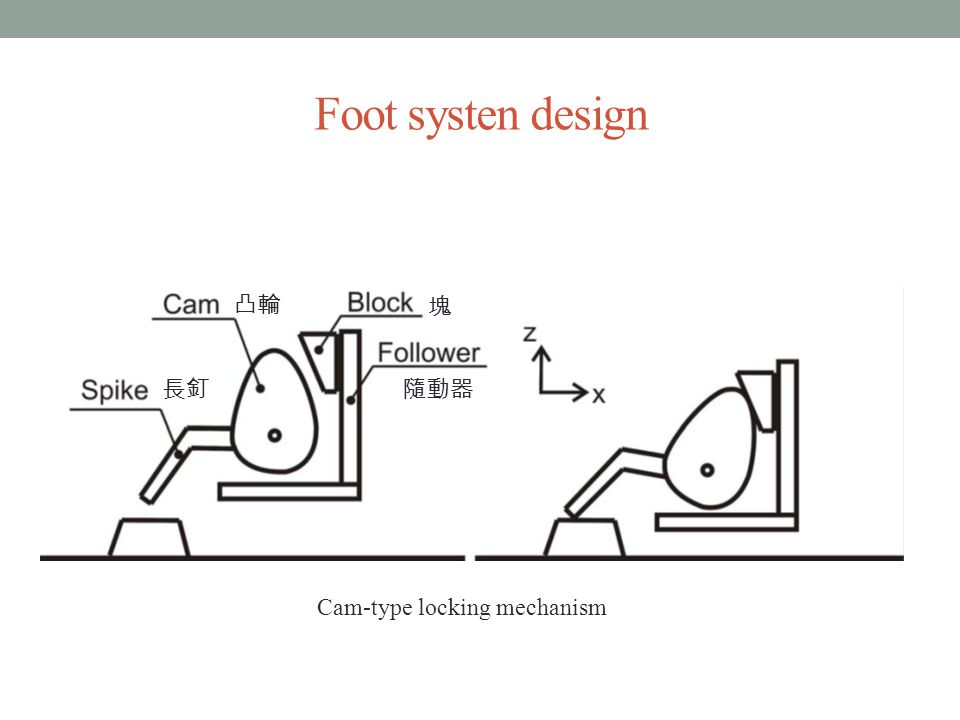 Foot systen design 長釘 凸輪 塊 隨動器 Cam-type locking mechanism