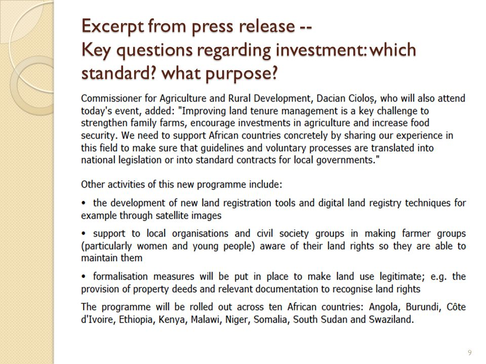 Excerpt from press release -- Key questions regarding investment: which standard what purpose 9