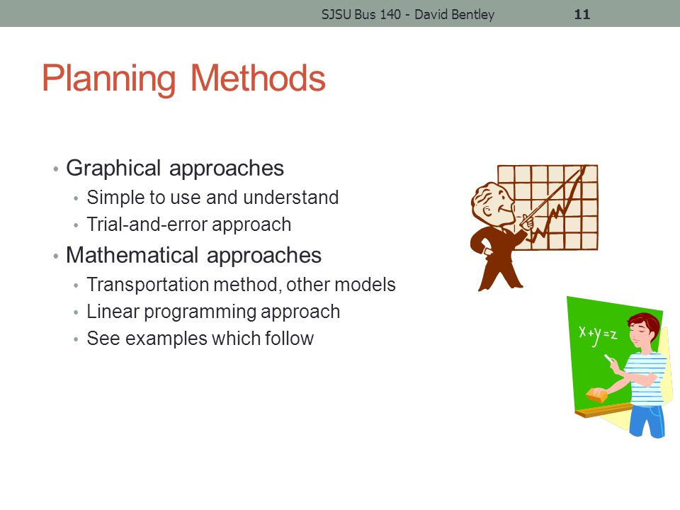 Planning Methods Graphical approaches Simple to use and understand Trial-and-error approach Mathematical approaches Transportation method, other models Linear programming approach See examples which follow SJSU Bus 140 - David Bentley11