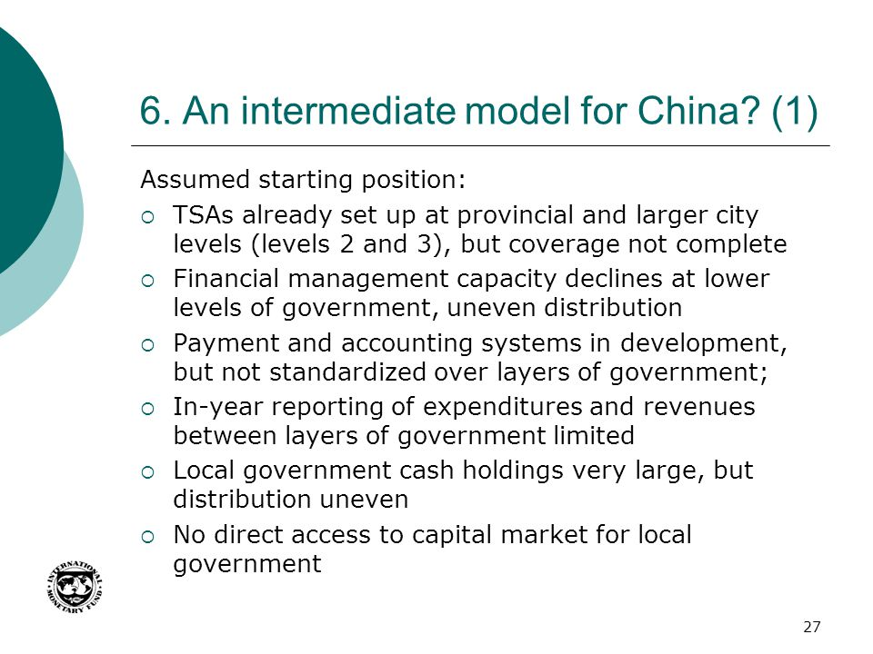 6. An intermediate model for China? (1) Assumed starting position:  TSAs already set up at provincial and larger city levels (levels 2 and 3), but co