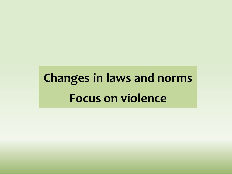 Changes in laws and norms Focus on violence