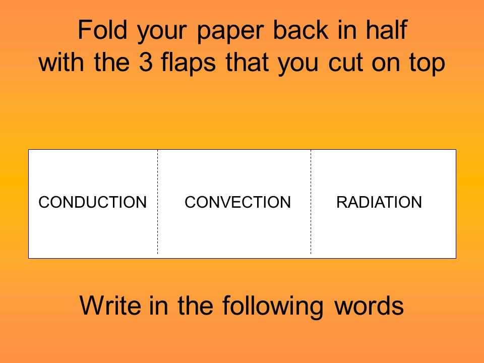 Fold your paper back in half with the 3 flaps that you cut on top Write in the following words CONDUCTIONCONVECTIONRADIATION