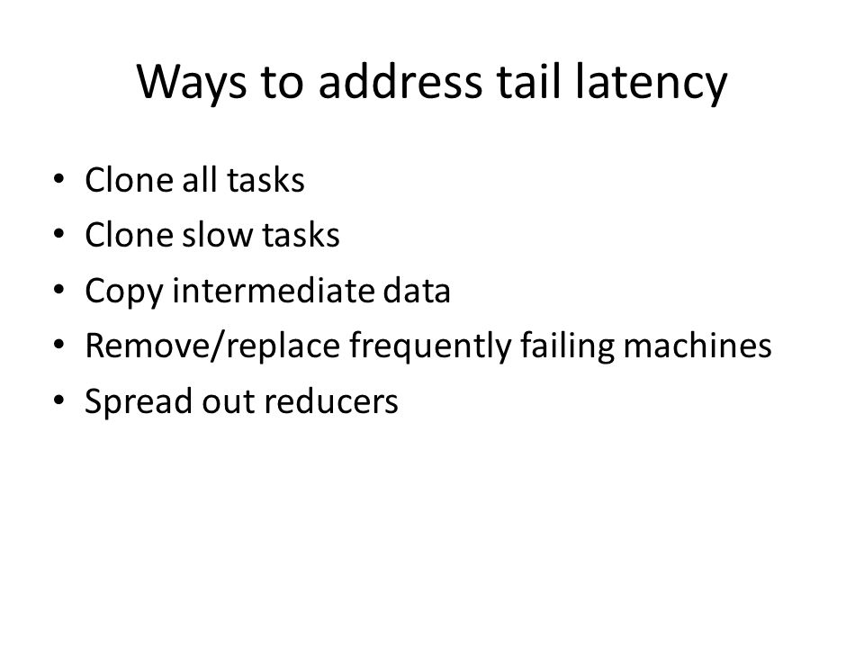 Summary Discuss tail latency in network – Types of traffic in network – Implications on jobs – Cause of tail latency Discuss Hull: – Trade Bandwidth for latency – Penalize huge flows – Eliminate bursts and buffering Discuss Orchestra: – Optimize transfers instead of individual flows Utilize knowledge about application semantics 34 http://www.mosharaf.com/