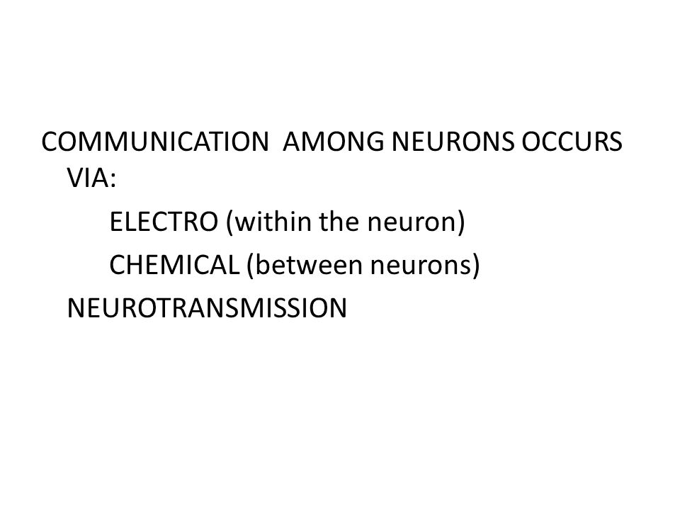 COMMUNICATION AMONG NEURONS OCCURS VIA: ELECTRO (within the neuron) CHEMICAL (between neurons) NEUROTRANSMISSION