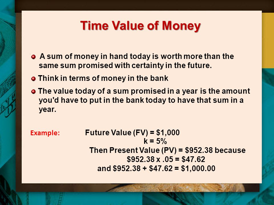Time Value of Money A sum of money in hand today is worth more than the same sum promised with certainty in the future.