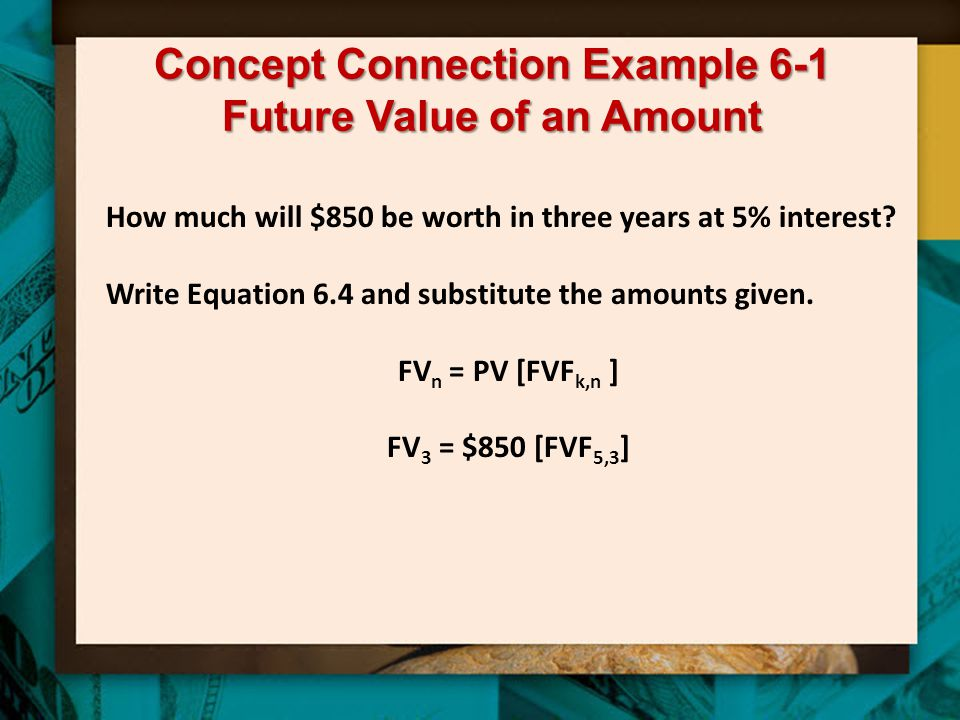 Concept Connection Example 6-1 Future Value of an Amount How much will $850 be worth in three years at 5% interest.