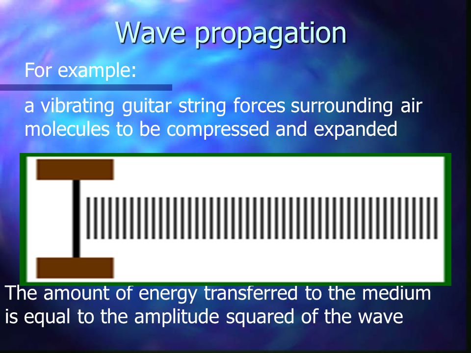For example: a vibrating guitar string forces surrounding air molecules to be compressed and expanded The amount of energy transferred to the medium i