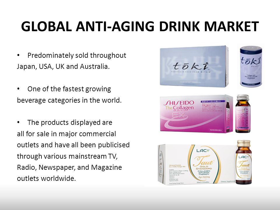 GLOBAL ANTI-AGING DRINK MARKET Predominately sold throughout Japan, USA, UK and Australia.