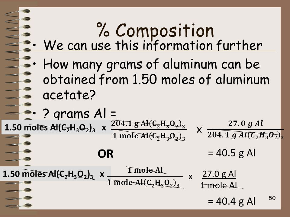 % Composition We can use this information further How many grams of aluminum can be obtained from 1.50 moles of aluminum acetate.