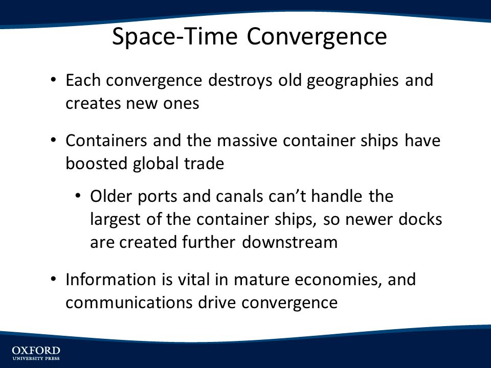 Each convergence destroys old geographies and creates new ones Containers and the massive container ships have boosted global trade Older ports and ca