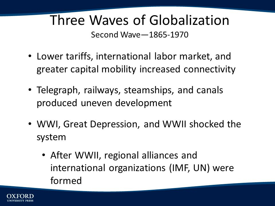 Lower tariffs, international labor market, and greater capital mobility increased connectivity Telegraph, railways, steamships, and canals produced un