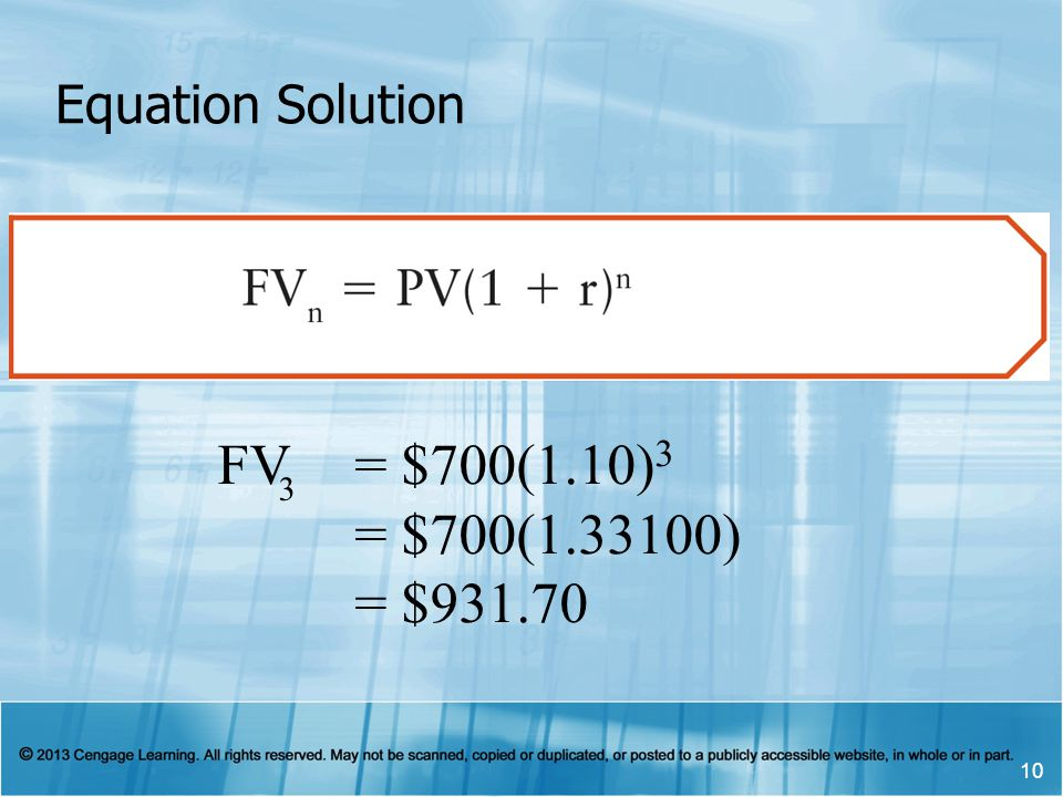10 Equation Solution FV 3 = $700(1.10) 3 = $700(1.33100) = $931.70