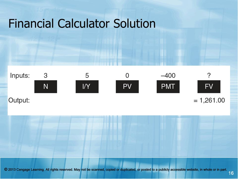 Financial Calculator Solution 16
