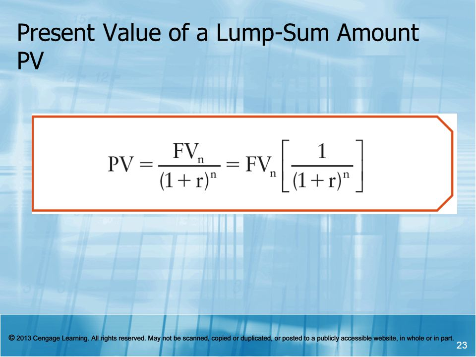 Present Value of a Lump-Sum Amount PV 23