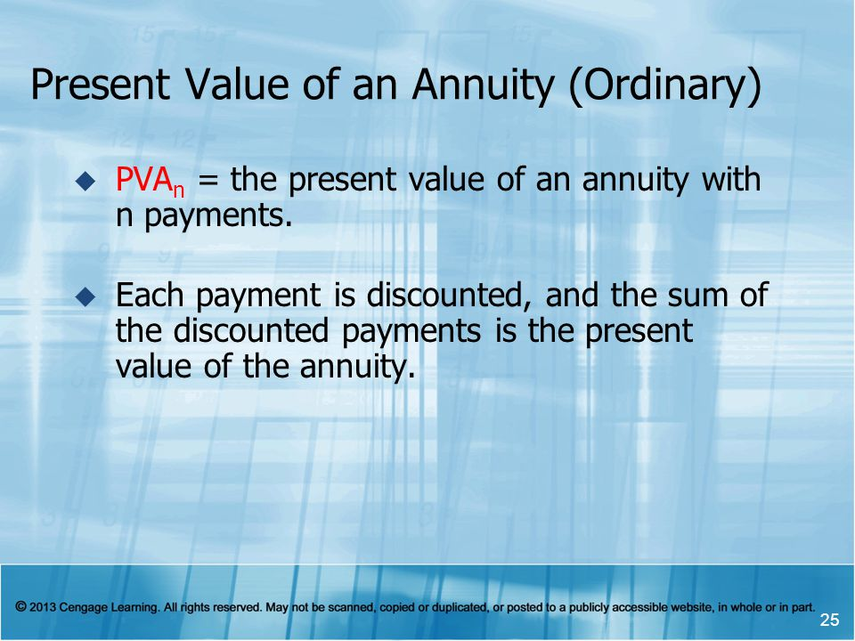 Present Value of an Annuity (Ordinary)  PVA n = the present value of an annuity with n payments.