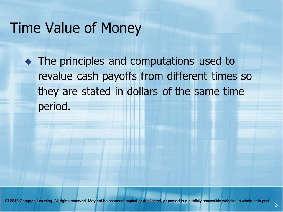 Time Value of Money  The principles and computations used to revalue cash payoffs from different times so they are stated in dollars of the same time period.