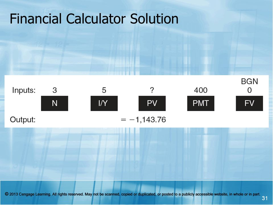 Financial Calculator Solution 31